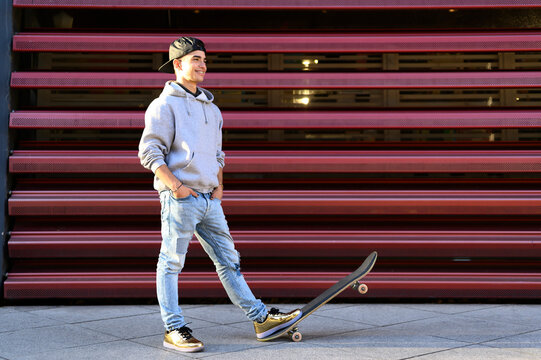 teen with a skateboard