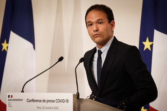 News conference on COVID-19 situation in France, in Paris