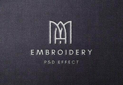 Realistic Embroidery Text Effect Mockup