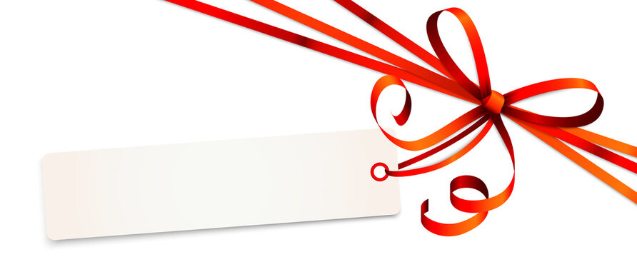 red colored ribbon bow with hang tag