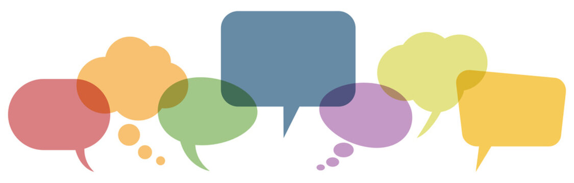 colored speech bubbles in a row