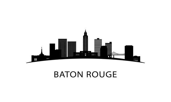 Baton Rouge city Louisiana skyline. Black cityscape isolated on white background. Vector banner.