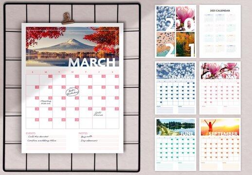 2021 Seasonal Wall Calendar Layout