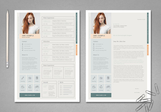 Pale Green and Peach Resume Layout