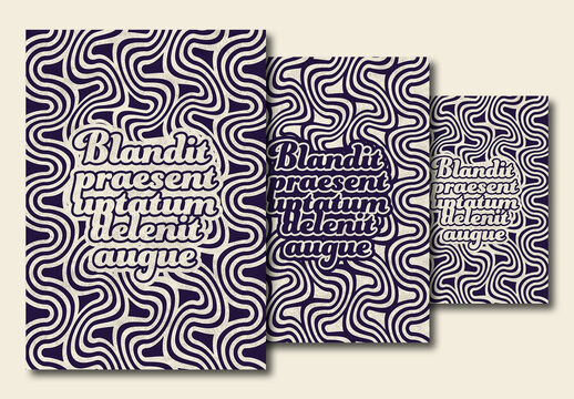 Abstract Poster Layout with Distorted Wavy Lines Pattern Background