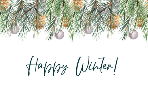 Watercolor illustration. Seamless pattern on a winter theme in the form of a border. Seamless festive border made of fir branches, Christmas balls and cones.