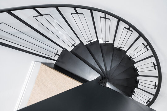 spiral staircase in black