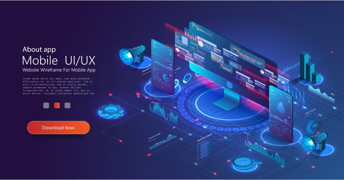Application UX of PC and phone with business graph and analytics data on isometric. Financial marketing isometric landing page. Digital business, online trading and investment, automation technology.