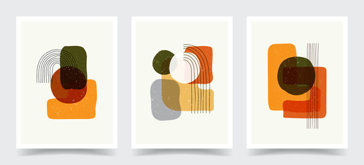 Vector illustration. Abstract contemporary aesthetic backgrounds. Design for cover, poster, postcard, card, flyer, brochure. Shapes and lines. Old vintage concept. Boho wall decor. Modern art print.