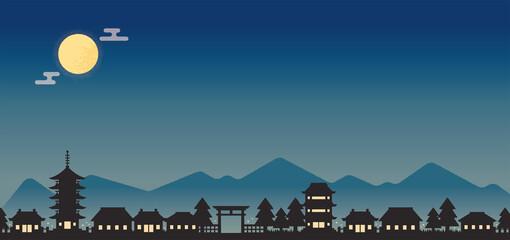 夜の古都の街並み横長背景