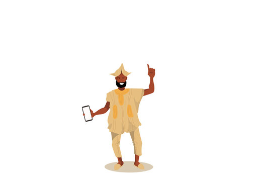 illustration of African man holding a smartphone