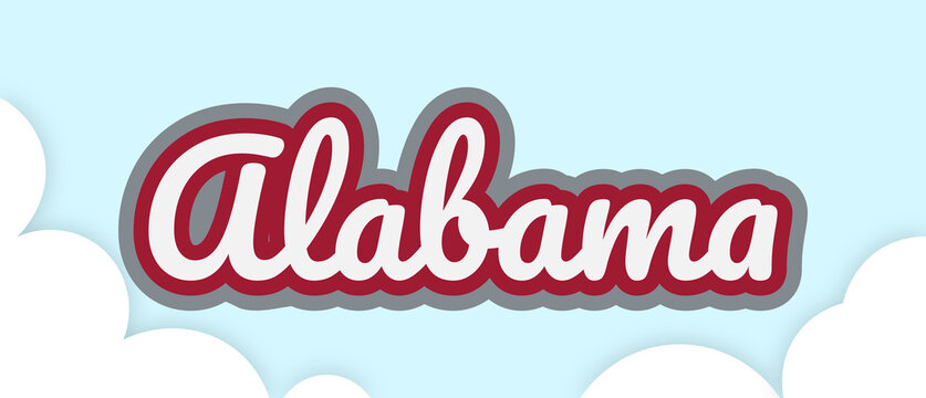 """Alabama"", big bold stroke text in football colours, floating in sky with clouds. Removable background. Vector Illustration."