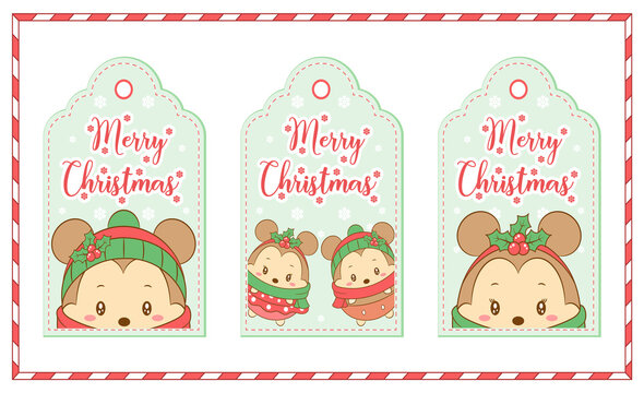 Merry Christmas tags cute Mickey and Minnie mouse drawing for winter season