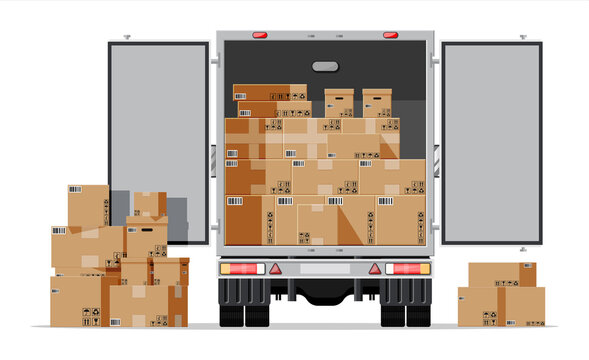 Truck trailer rear view loaded with cardboard boxes. Delivery van with pile of boxes. Express delivering services commercial truck. Fast and free delivery. Cargo logistic. Flat vector illustration