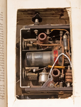 Overloon, the Netherlands on july 30, 2020: Old radio hidden in a book, WW2