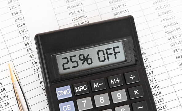 Calculator with the word 25 percent off on the display