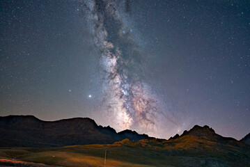 milkyway over the mountains and cloud