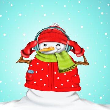 snowman listening to music on headphones