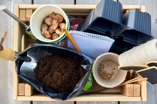 gardening, farming and planting concept - garden tools in wooden box and soil and pots