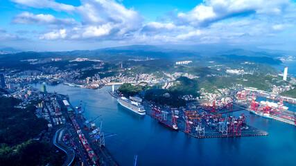 Fototapeta November 10, 2017, Aerial view of Keelung Port, Keelung, Taiwan.