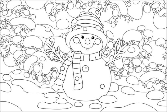 Smiling toy snowman with a warm scarf and a hat under snow-covered fir branches in a snowy winter park, black and white outline vector cartoon illustration for a coloring book page
