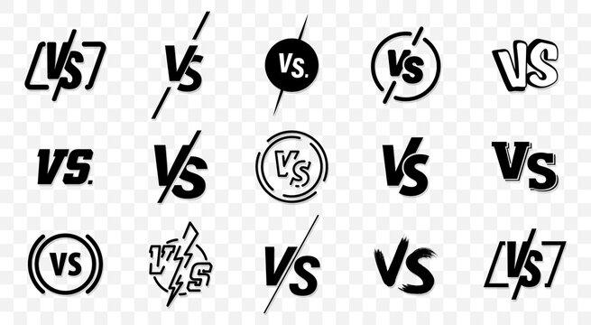 Set of versus logo letters. Versus Or VS Letters Logo & symbol design template. VS letters for sports, fight, competition, battle, match, game. Flat black font Versus Icon