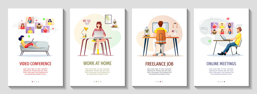 Set of flyers for Work at home, Freelance, Home office, Remote job, Online education, E-learning, Video conferencing. A4 vector illustrations for poster, banner, flyer, commercial.