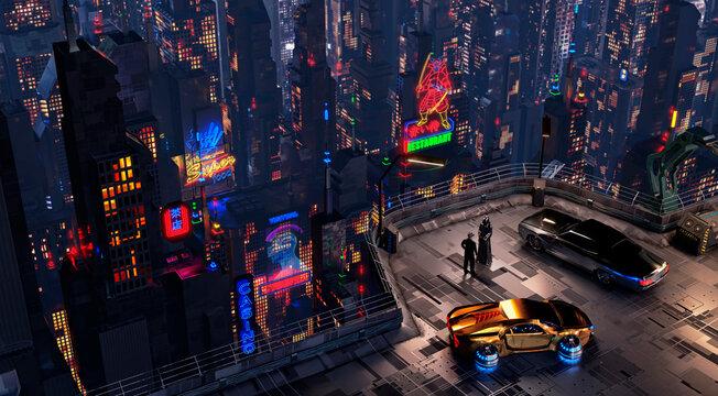 Futuristic Cyberpunk Night City Scene. 3D illustration