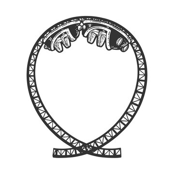 Roller coaster sketch engraving vector illustration. T-shirt apparel print design. Scratch board imitation. Black and white hand drawn image.