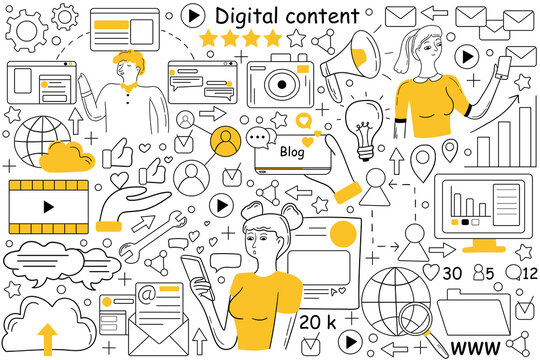 Digital content doodle set. Collection of hand drawn sketches patterns of people creating promote interactive products for engaged audiences and value for customers. Visual marketing technologies.