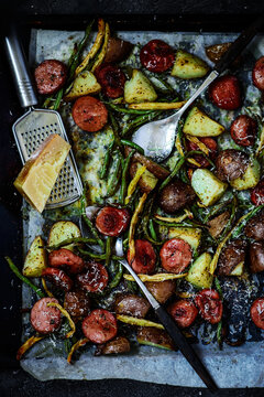 Oven roasted potatoes and sausage pan dinner..style rustic