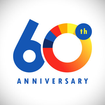 60 th anniversary numbers. 60 years old coloured congrats. Cute congratulation concept. Isolated abstract graphic design template. Colour digits. Up to 60%, -60% percent off discount. Decorative sign.
