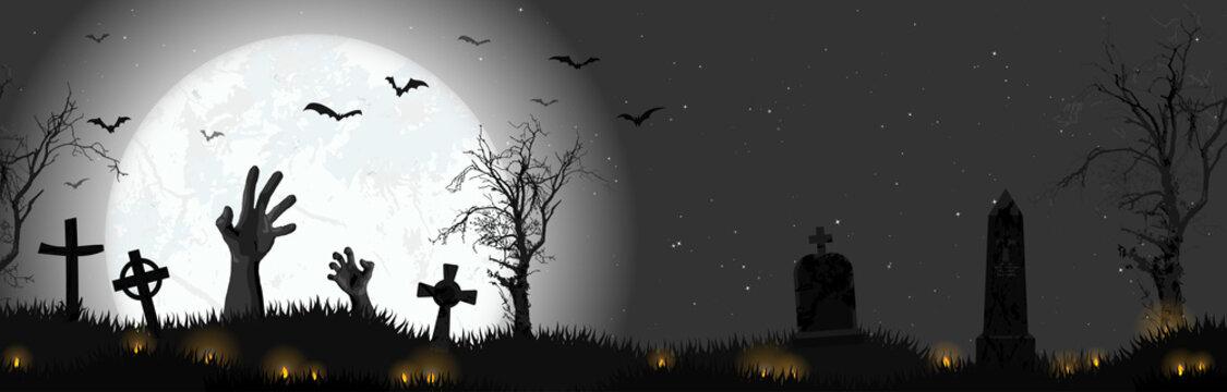 Halloween zombie hands in front of full moon