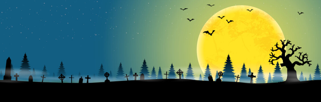 halloween cemetery in front of woodlands with full moon