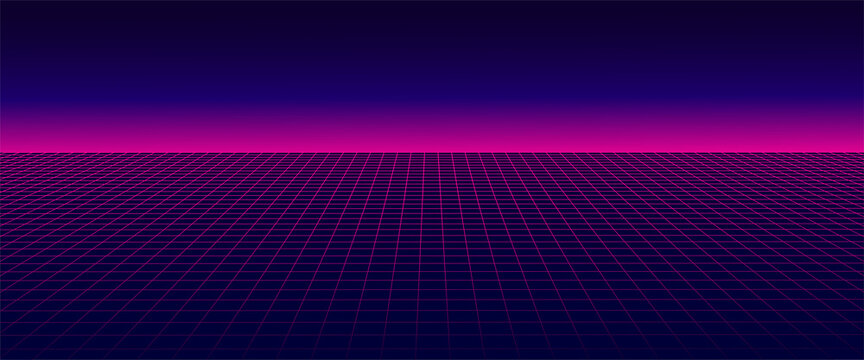 Abstract wireframe landscape 1980s style. Retro futuristic vector grid. Technology neon background.
