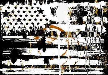 abstract background design, with paint strokes, splashes, stars and stripes, grungy, USA flag, on black