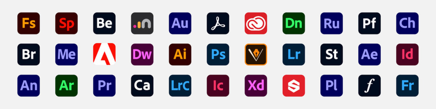 Set of Adobe products icons. Original Adobe logo collection