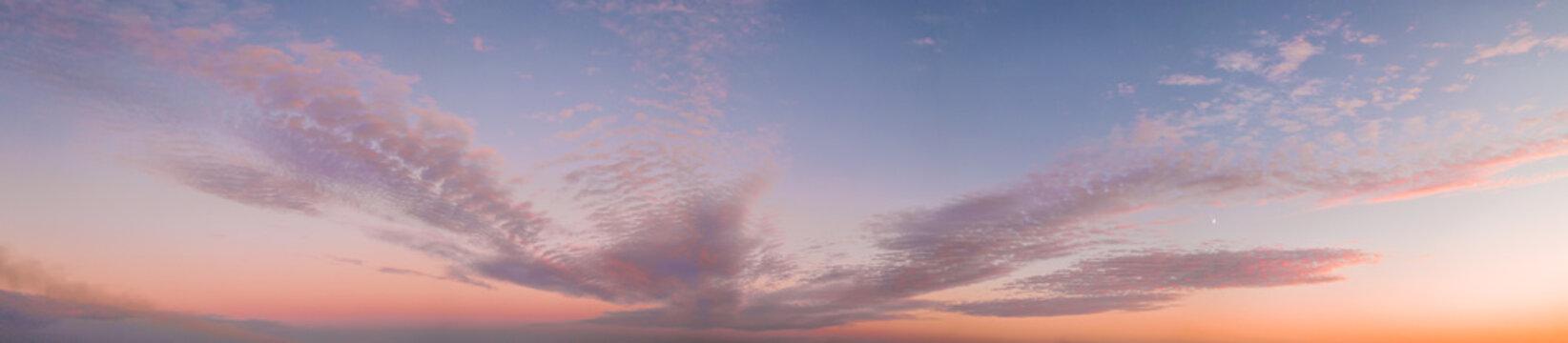 Colorful purple sunset twilight evening sky. High-resolution stitch panorama image.