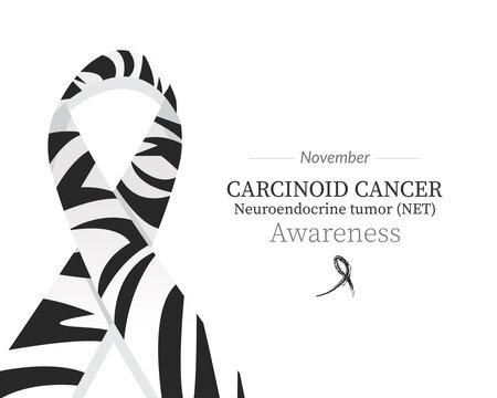 Carcinoid syndrome cancer awarenesss - Zebra Stripes ribbon pattern color
