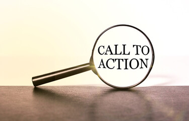 call to action, text on a light background in the middle of a magnifying glass