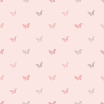 Vector butterfly seamless repeat pattern design background. Abstract geometric pattern with pastel colors. Cute and simple girly background.
