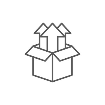Product release icon. Flat line vector box icon.