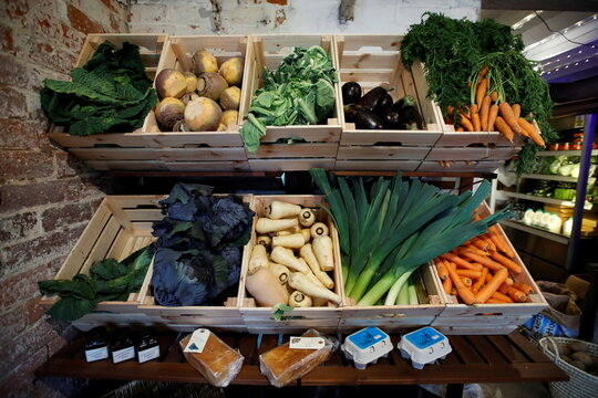Products for sale are pictured at The Farm Fresh Market, a farm shop that has offered free lunches to children who need it over half term, as the spread of coronavirus diseases (COVID-19) continues, in Watnall, Nottingham