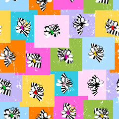 seamless pattern background, retro/vintage style, with flowers, squares, paint strokes and splashes