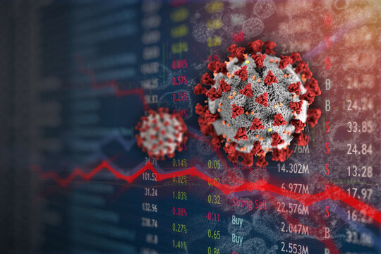 Stock Market plunge from Covid-19 Coronavirus pandemic.  Economic downfall and recession.  Elements of this image furnished by the CDC.