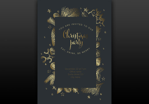 Golden Christmas Party Invitation Layout  with Hand Drawn Season Decorations