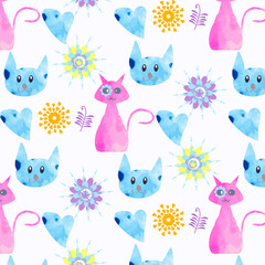 Abstract watercolor cats seamless pattern. It is located in swat