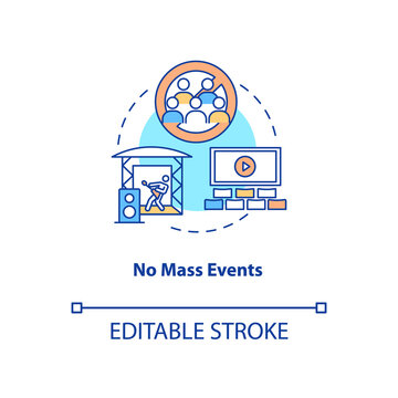 No mass events concept icon. New public rule idea thin line illustration. Mass gatherings. Social distancing measures. Sporting events. Vector isolated outline RGB color drawing. Editable stroke