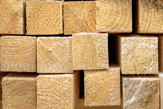Lumber in sawmill, ends of timber blocks for texture background. Sawed and processed wood in storage