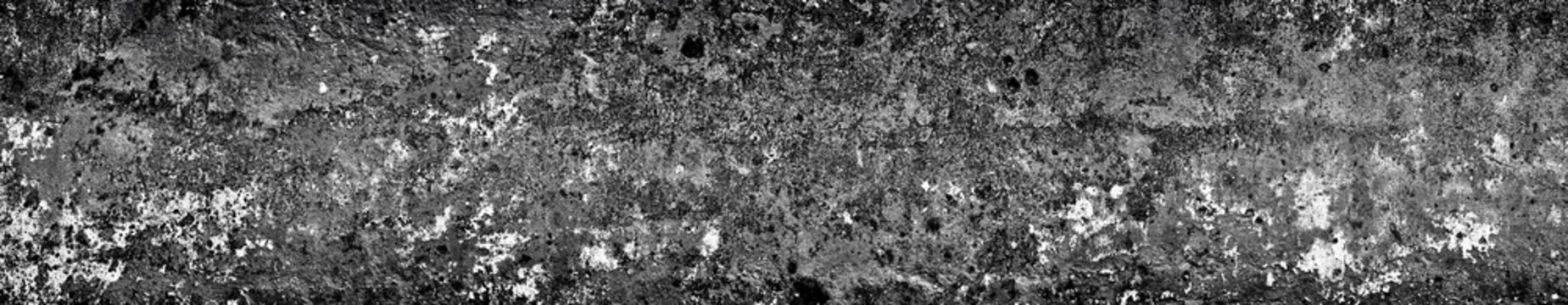 Ancient wall with peeling plaster. Old concrete wall, panoramic textured background grey color, monochrome, vignette